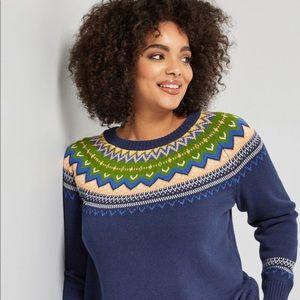 "NWOT ModCloth ""Keeping Cozy Fair Isle Sweater"" L"